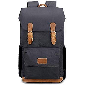 ee698771f683d EverVanz Canvas Leder Rucksack Reise Wandern Outdoorrucksack Daypacks für  15 Zoll Laptop Großer Rucksack für Schule