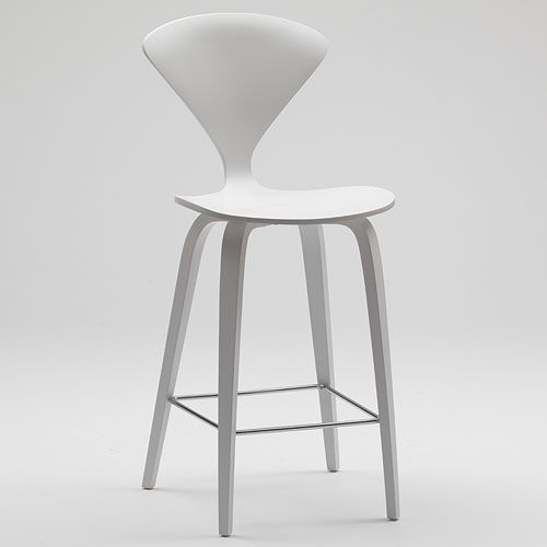 Norman Cherner Counter Bar Stool Wooden Base in White Lacquer | Stardust  Modern Design - Norman Cherner Counter Bar Stool Wooden Base In White Lacquer