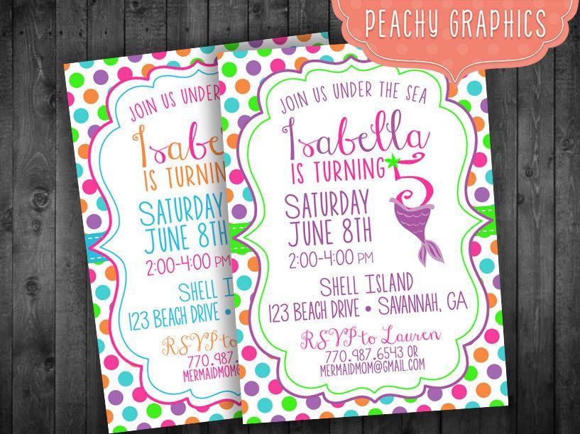 Mermaid Polka Dot Birthday Party Invitation Ages 1, 2, 3, 4, 5, 6, 7 ...