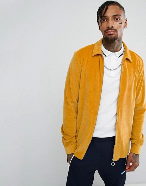 f97ea4c9c00 ASOS Velour Zip Thru Overshirt In Mustard | My Style in 2019 ...