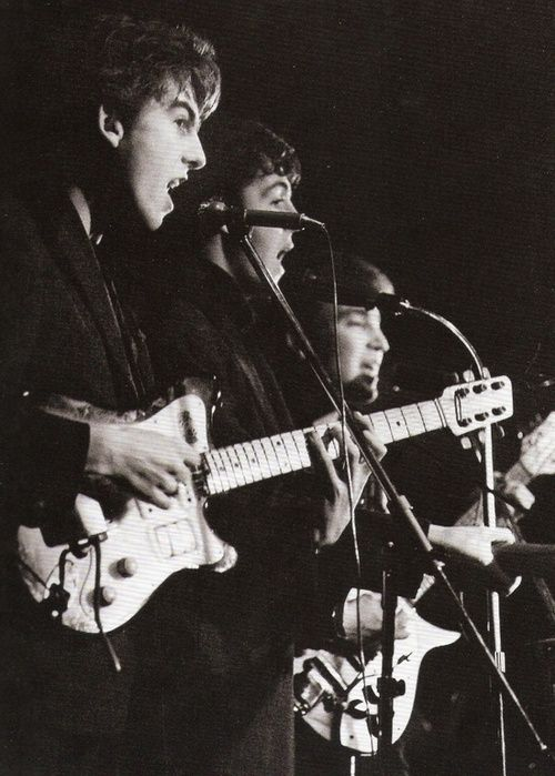 The Beatles at the Top Ten Club in Hamburg, April 1961. Photo by Juergen Vollmer.