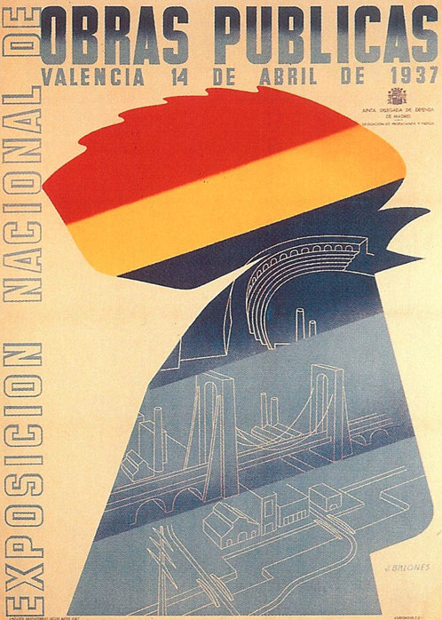 By José Briones (1905-1975), 1937, Exposicion Nacional de Obras Publicas, Republican poster Spanish Civil War. (Spain)