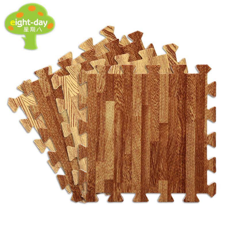 Eight Day Wood Grain Foam Mat Home Flooring Mats Home Soft Tiles For