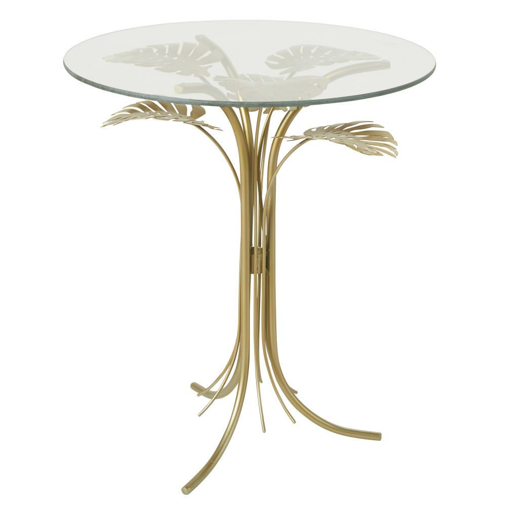 Beistelltisch Aus Glas Und Metall Goldfarben In 2020 With Images Glass Side Tables Side Table Trending Decor