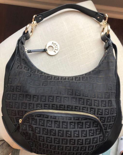 b1bad61e993e Authentic FENDI Leather FF MONOGRAM HOBO Shoulder Hand bag Purse Zucchino  Black