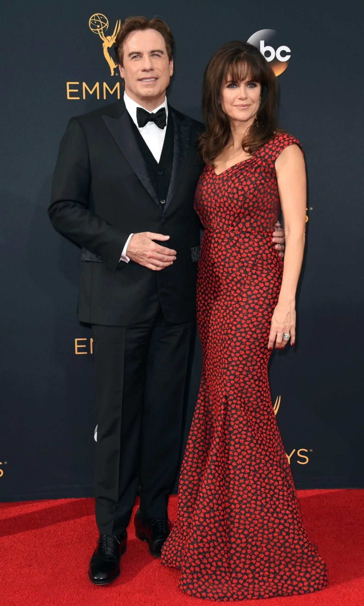 "John Travolta and Kelly Preston posed together on the red carpet at the 68th Emmy Awards on Sept. 18, 2016. Travolta was nominated for Supporting Actor in a Limited Series or a Movie, but lost to his ""The People v O.J."" co-star Sterling K. Brown."
