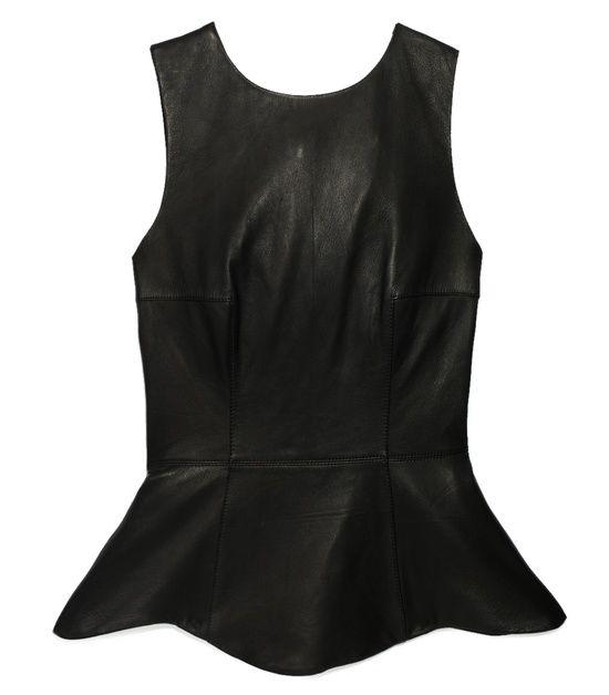 Black leather peplum top on SNOBSWAP https://snobswap.com/listings/view/6750