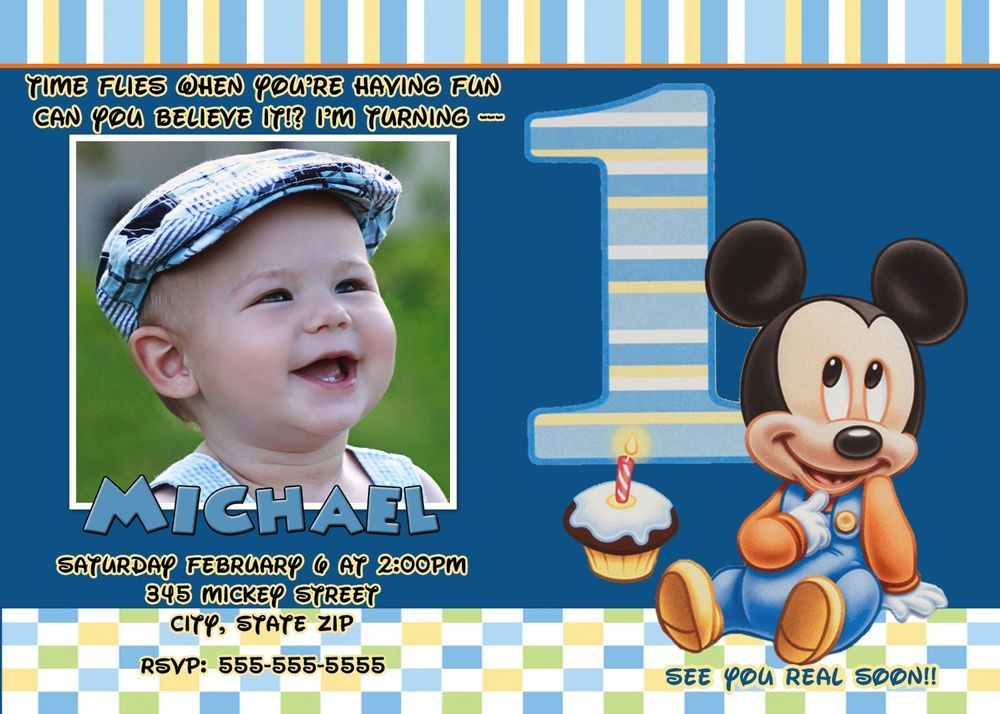 Mickey Mouse First Birthday InvitationBaby Mickey Mouse – Baby Mickey Invitations Birthday