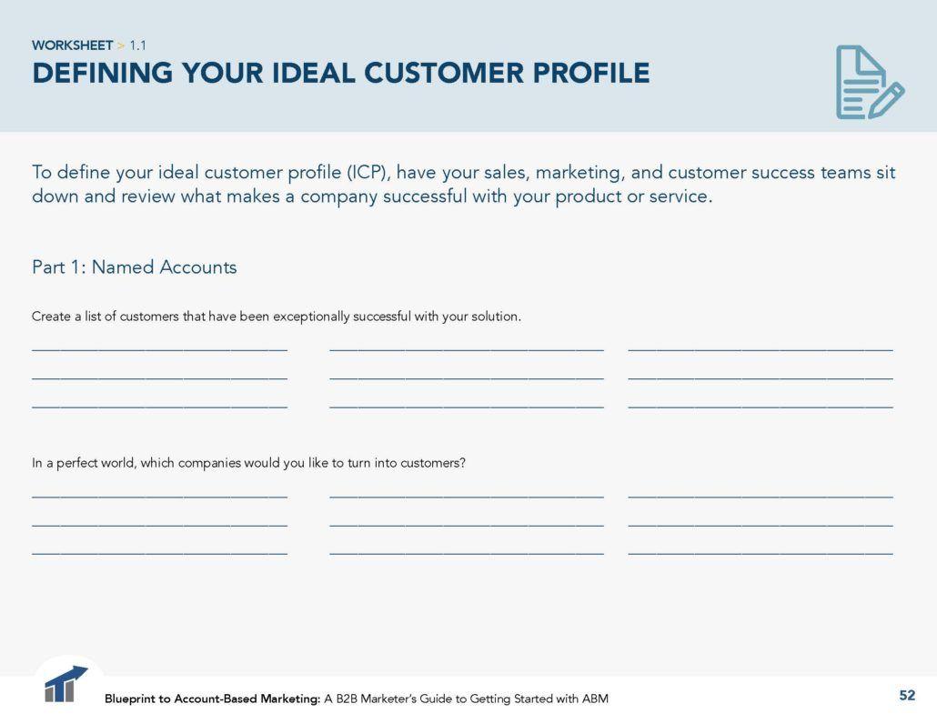 Define Your Ideal Customer Profile Icp For Account Based Marketing Abm Ideal Customer Goals Worksheet Customer Retention