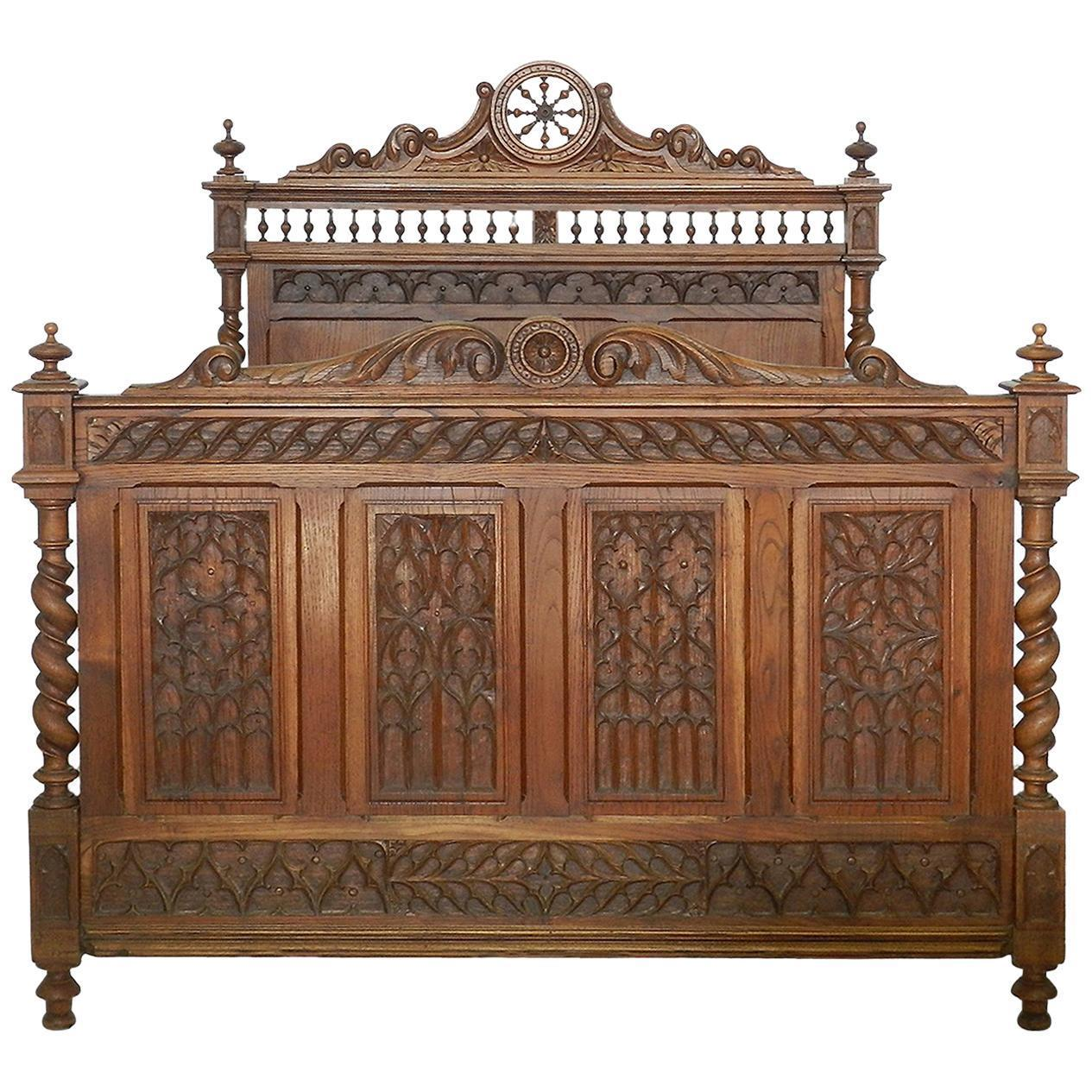 French Bed Antique 19th Century Gothic Carved Oak Us Full