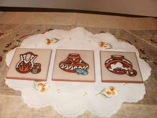 Decorative 4X4 Ceramic Tiles Unique Artist Cleo Teissedre Hand Painted Ceramic Tile Trivet Coaster 2018