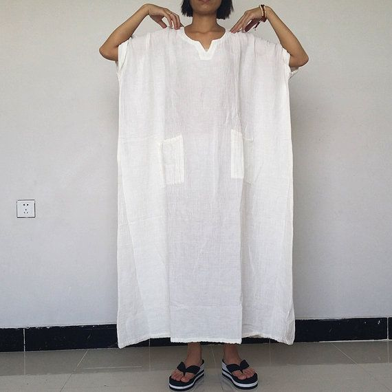 Women Plus Size Dress Loose Fitting Cotton Linen Dress  Short sleeved Summer Dress