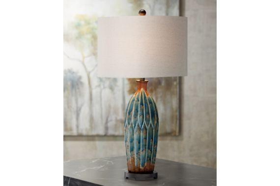 Fargo Azul Blue And Rust Ceramic 32 3 X2f 4 Inch H Table Lamp Eu7f729 Euro Style Lighting Contemporary Lighting Table Lamp Lamp