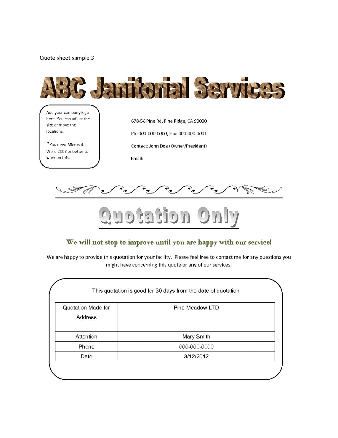 Explore our printable cleaning services quotation template
