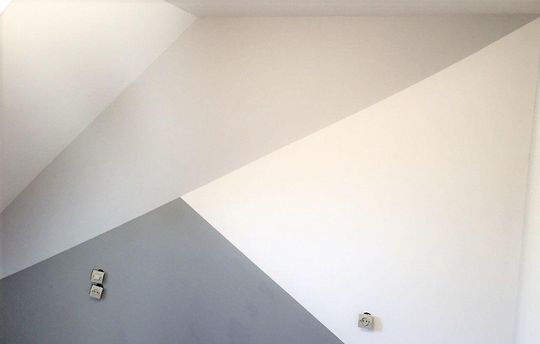 Mur Triangle De Couleurs Gris Clair Gris Anthracite Et