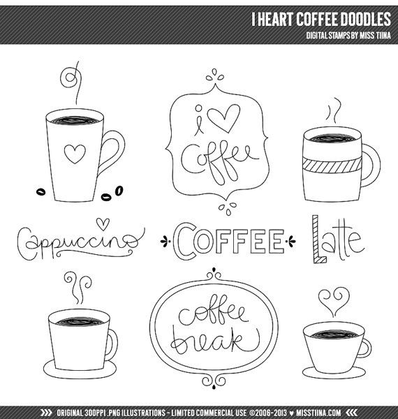 I Heart Coffee Doodles Digital Stamps Clipart Clip Art