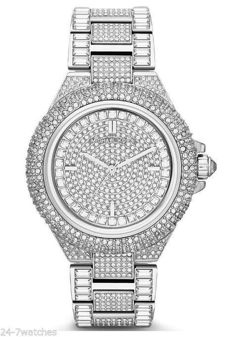 58d7b5fc141f NEW Michael Kors MK5869 Camille Crystal Encrusted Bracelet Silver Diamond  44mm  MichaelKors  Fashion