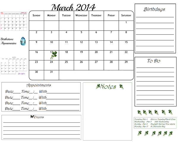 Free printable march 2014 organizing calendar do it yourself free printable calendars all kinds find this pin and more on do it yourself solutioingenieria Images