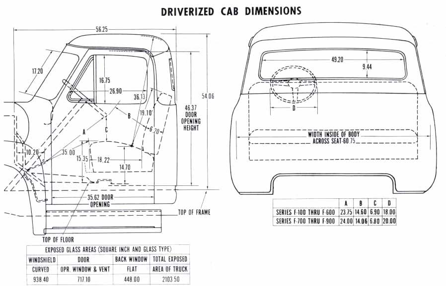 1953 Driverized Cab Dimensions Plans Trucks