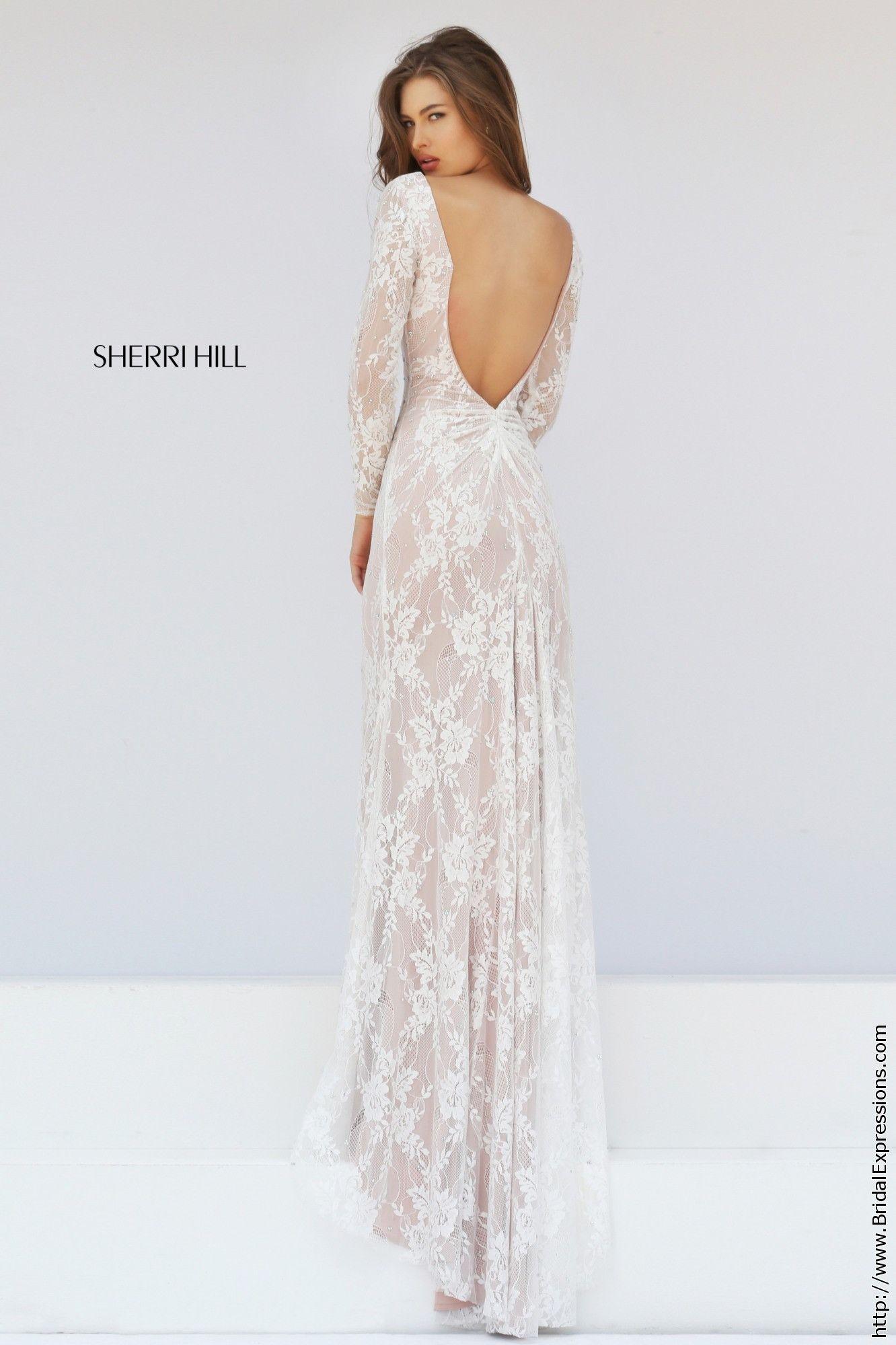 Sherri Hill 50019 Long Sleeve Stretch Lace Prom Dress