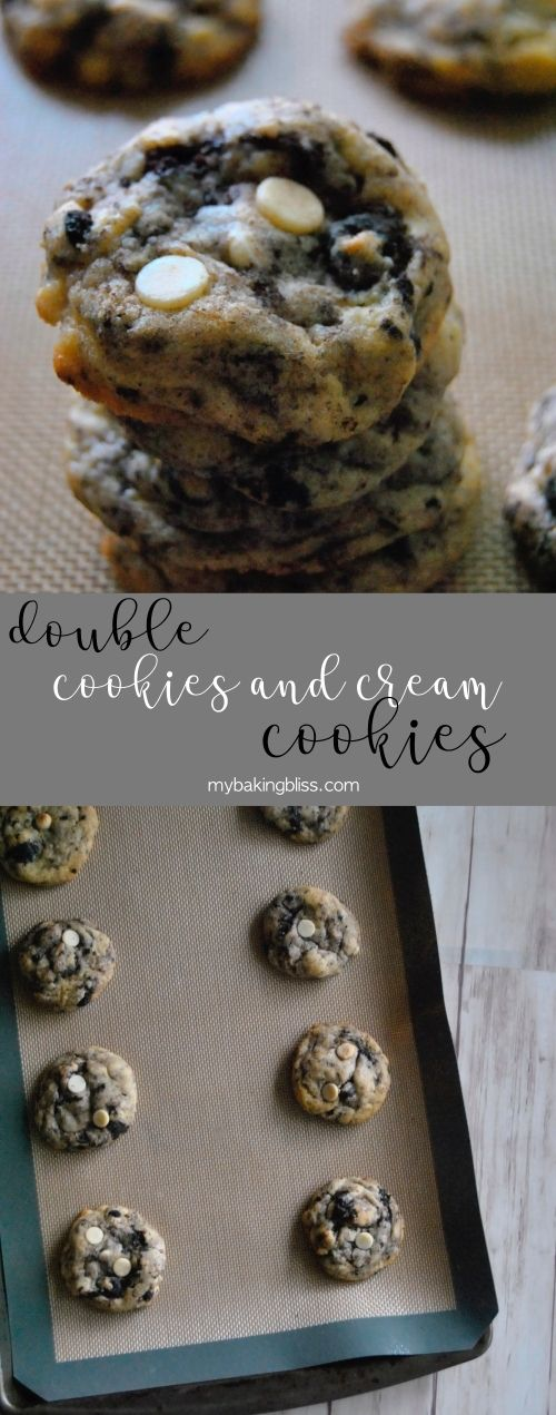 Doubled Cookies and Cream Cookies - jam-packed with mix-ins, these thick and chewy cookies are full of classic cookies and cream flavor that the whole family is sure to love. | mybakingbliss.com #cookiesandcreamcake
