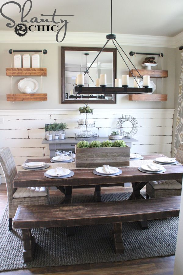 Like The Accent Wall Behind Hr Table Dining Room Decor Ideas   Rustic  Farmstyle Bench Seating, Dark Bronze Candelabra, Barn Wood Chair Rail
