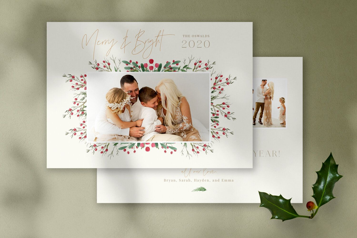 Merry Bright Christmas Photo Card Template Photoshop Template By Stephanie Design Christmas Photo Card Template Holiday Photo Cards Template Christmas Card Template