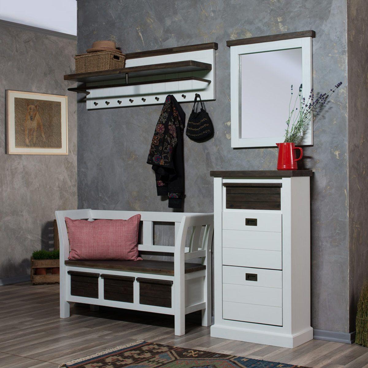 serie loft im landhausstil aus massiver akazie sitzbank schuhschrank wandpaneel spiegel. Black Bedroom Furniture Sets. Home Design Ideas