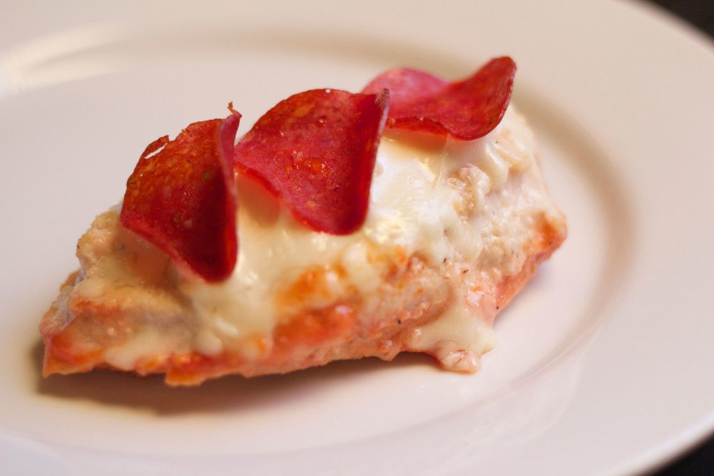 Pizza Chicken with Turkey Pepperoni:  chicken breast, pizza sauce, mozzarella cheese and low-fat pepperoni.