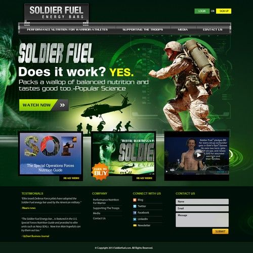 create the next website design for soldier fuel energy bars