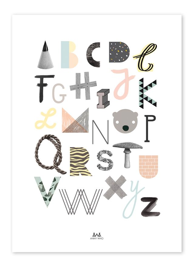 abc poster from anny who art kids illustrations pinterest typografie kinderzimmer und. Black Bedroom Furniture Sets. Home Design Ideas