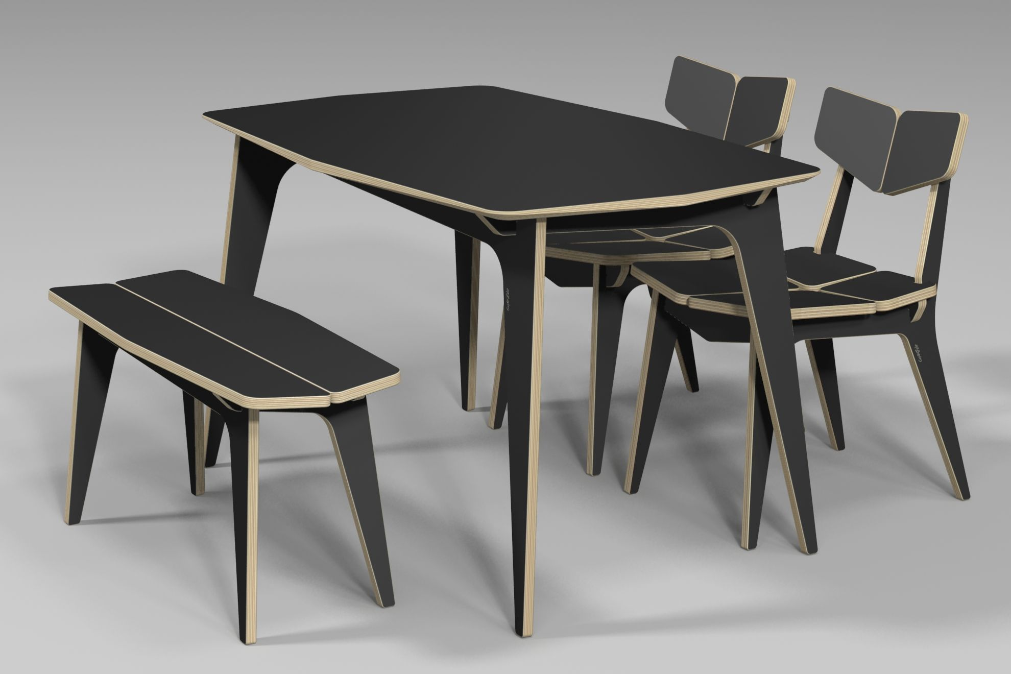 Tetra dining table cnc router 3d design plywood for Sedie design 3d