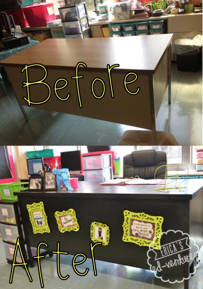 Outstanding Desk Makeover Teacher Time Classroom Desk Teacher Desk Interior Design Ideas Inamawefileorg