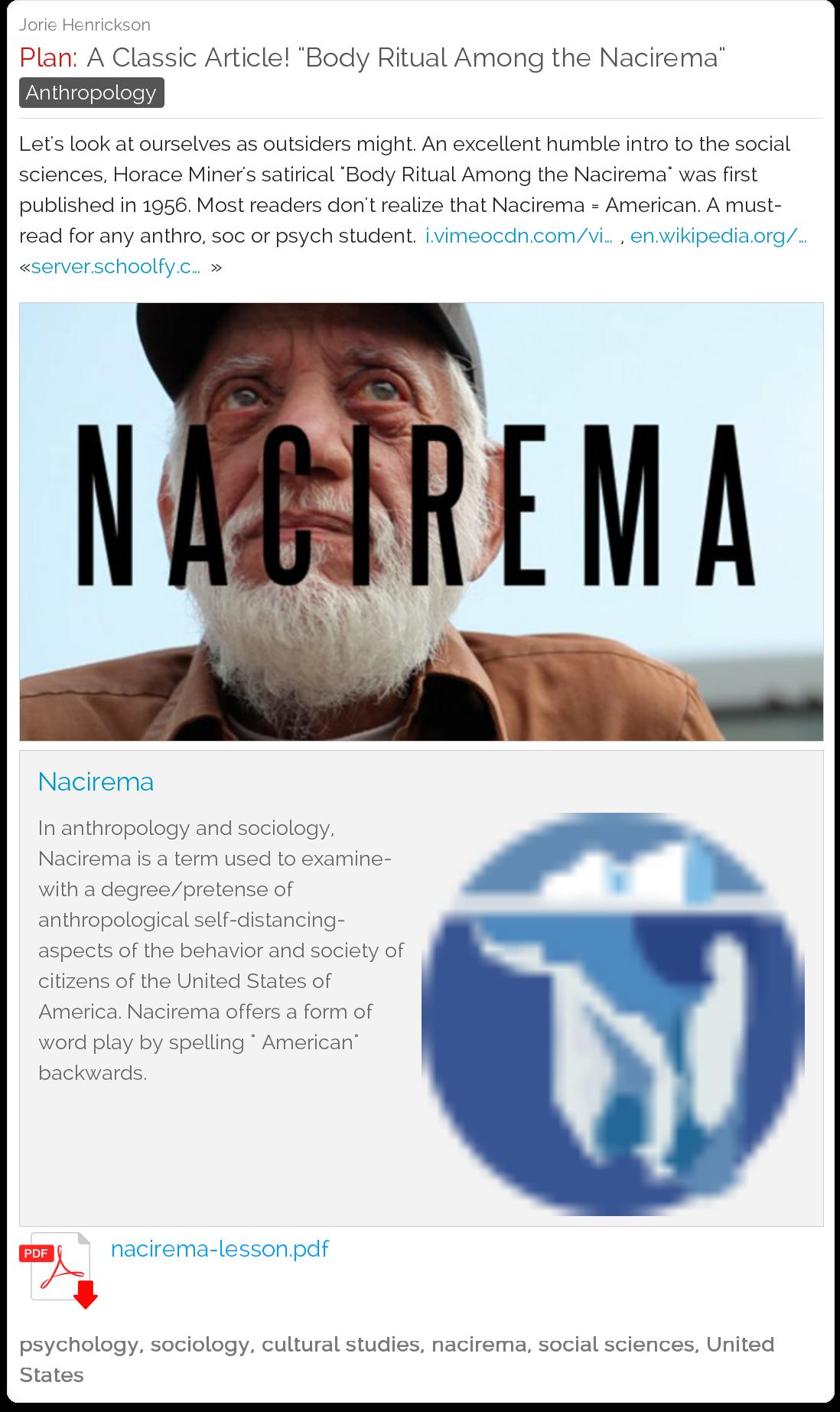 A Classic Article Body Ritual Among The Nacirema
