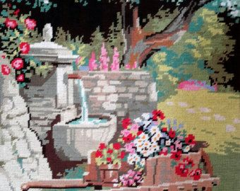 Mill scene vintage hand stitched / needlepoint tapestry