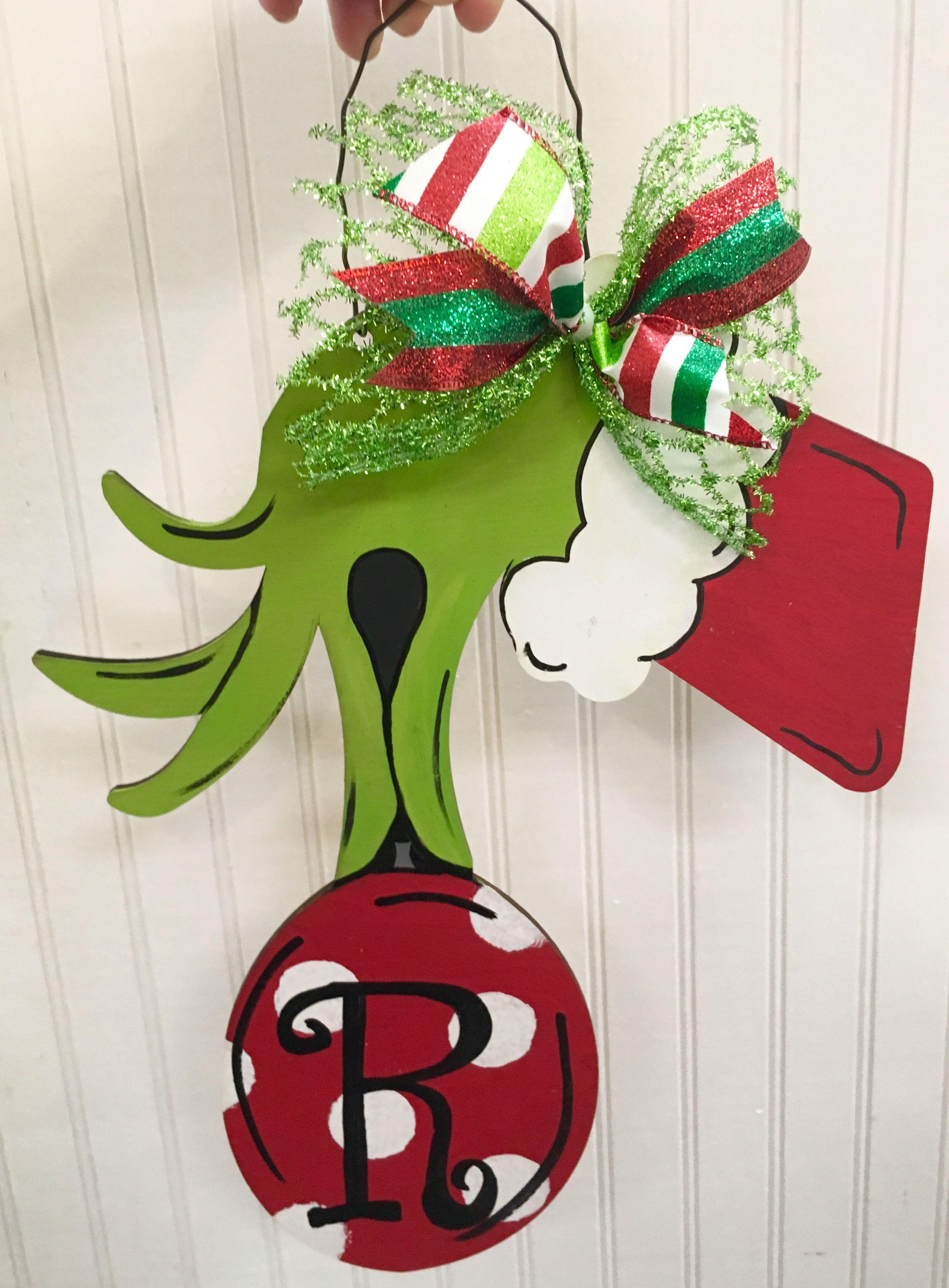 Grinch Hand Ornament Christmas Door Hanger Craft Night Out Statesville Nc Christmas Door Hanger Hanger Crafts Craft Night