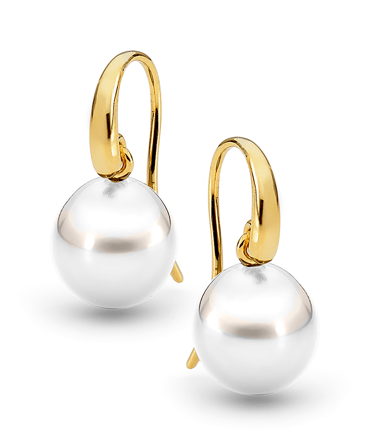 Allure South Sea Pearl French Hook Earrings White Bezel Set Diamonds And Luxurious 11 12mm South Sea Pearls Are Artfully Suspended From Articulated Fr With Images Earrings