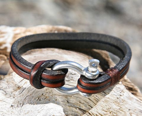 e8349ac5bb3a0 Brown Leather Bracelet with a Nautical Grade Omega Shackle Clasp ...