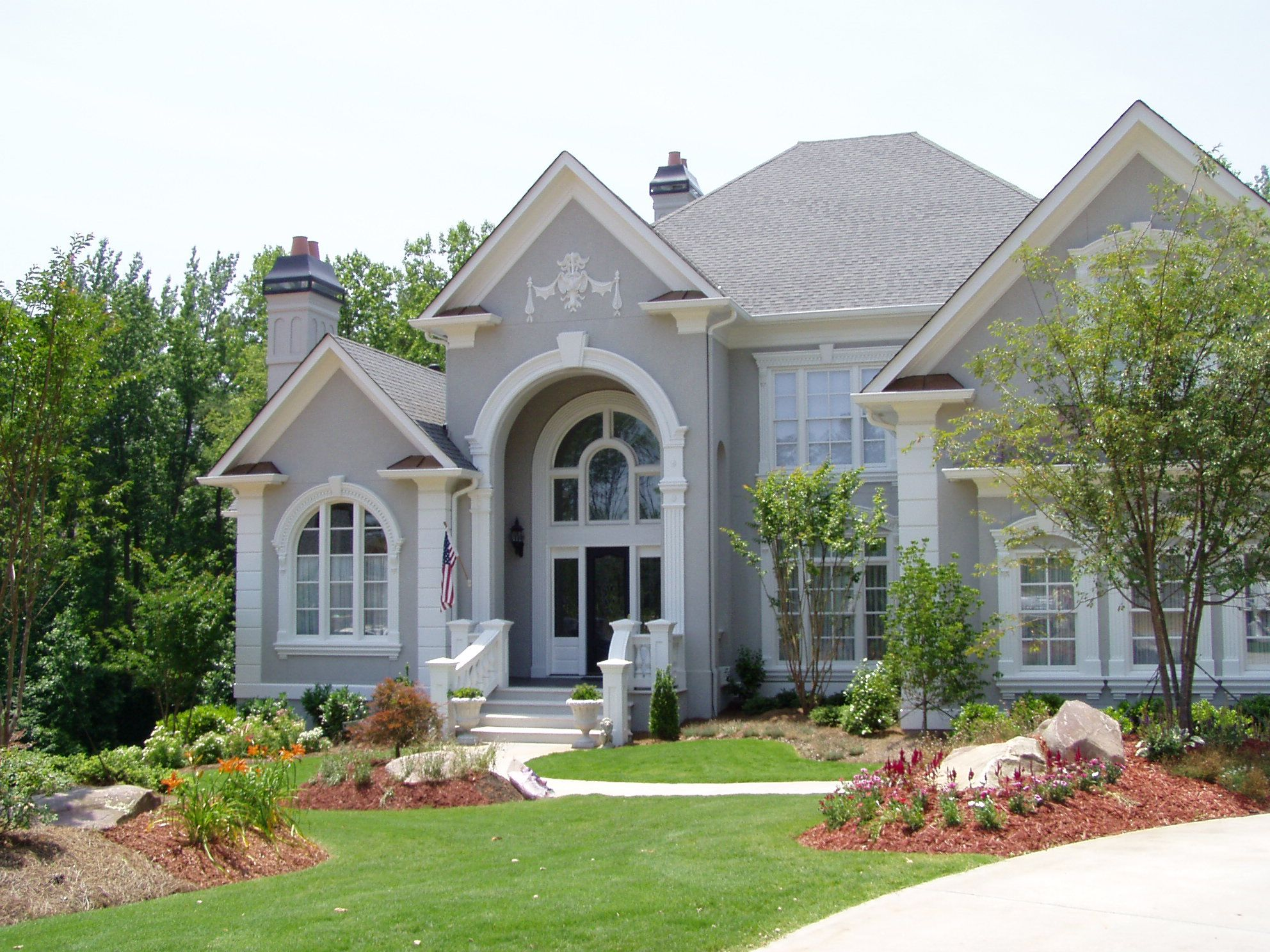 Love The Light Stucco Our Dream House Pinterest White Trim Porches And Grey