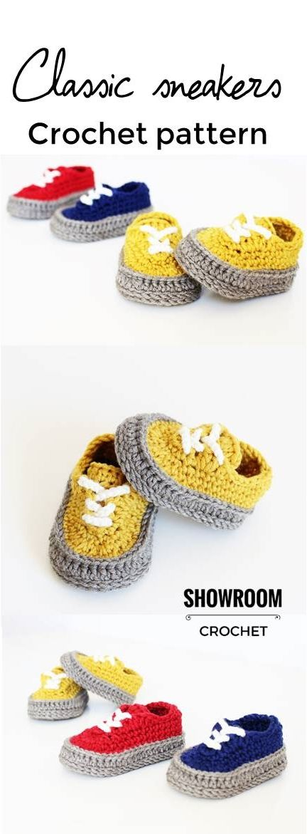 Classic sneakers crochet Etsy paid pattern | BEBES | Pinterest ...
