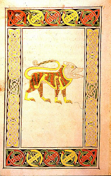 The Golden Lion Symbol Of St Mark From The Book Of Durrow Ireland