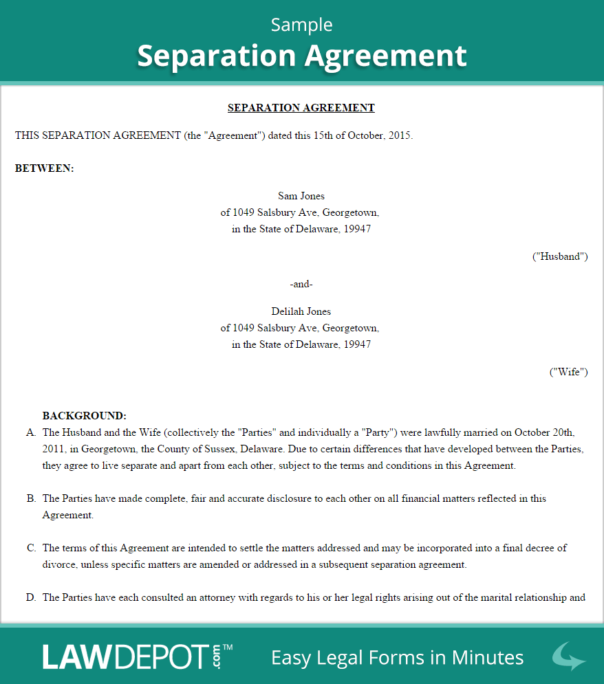 Sample Separation Agreement Divorce