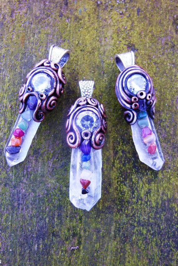 Chakra Crystal Pendant with Clear Quartz & by EnchantedShaman, $48.00