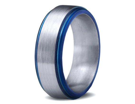 Mens Wedding Band Blue Cobalt Ring Bands Colored Custom Made 7mm Size Mans Womens Matching Hishers Set Anniversary On Etsy 467 77