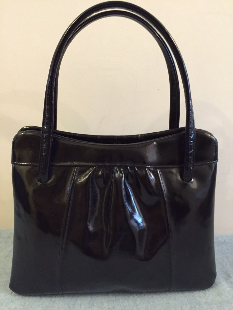 Beautiful True Vintage Black Patent Leather Jane Shilton Top Handle Bag 60 S