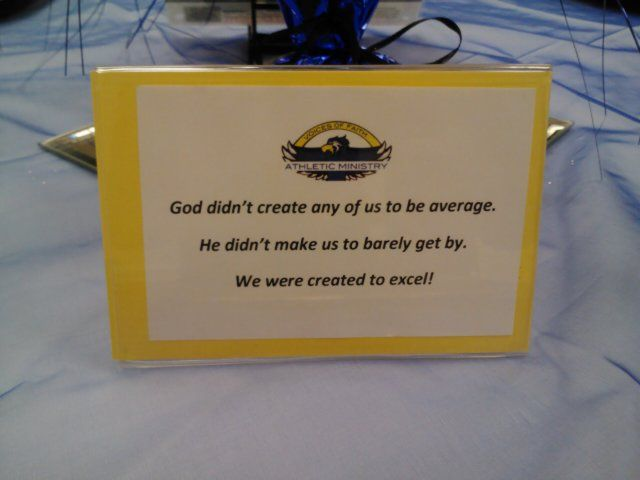 Track & field banquet-inspirational quotes table decor - use this idea, but execute better.
