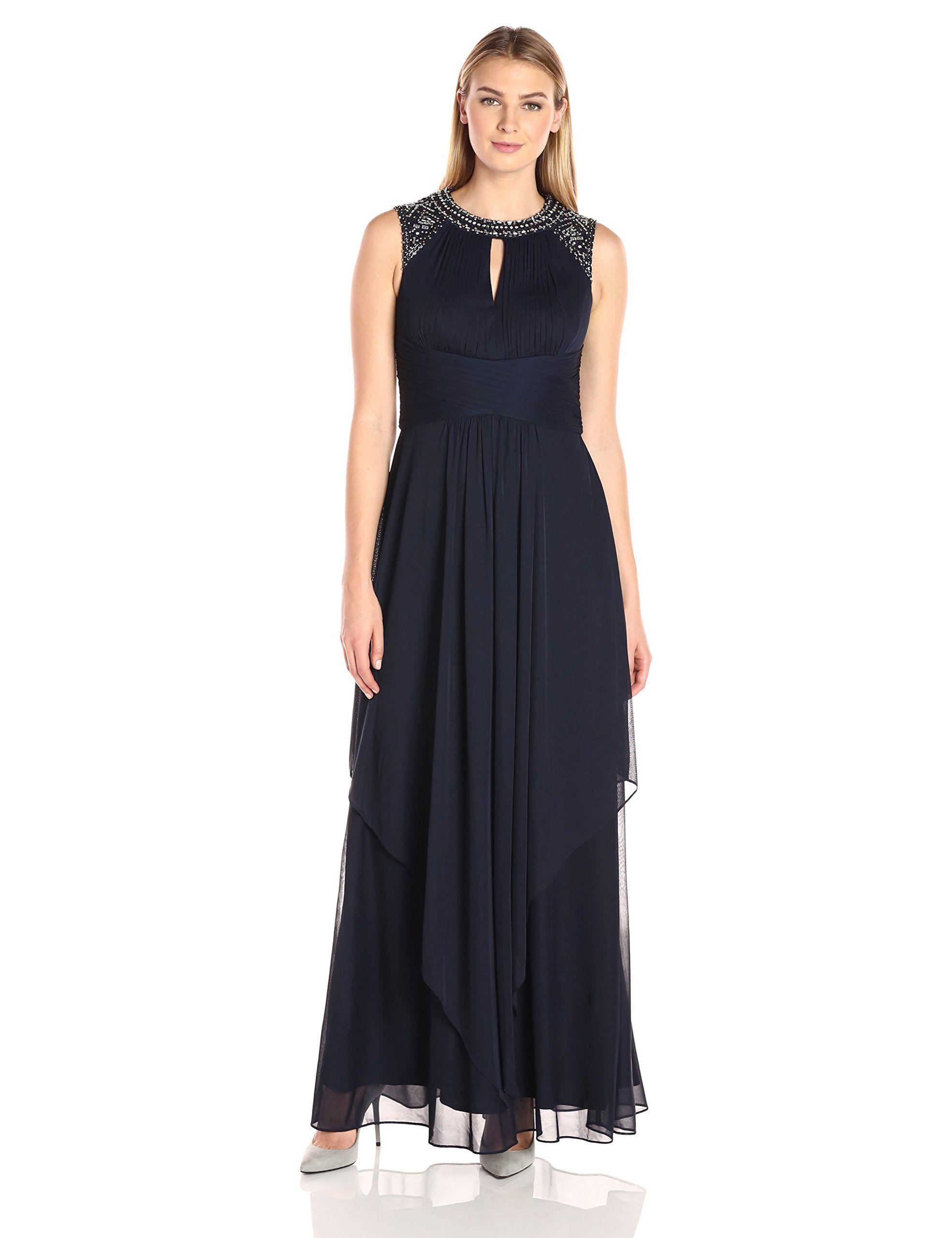 Alex evenings womenus jewel neck long dress dark navy joanna