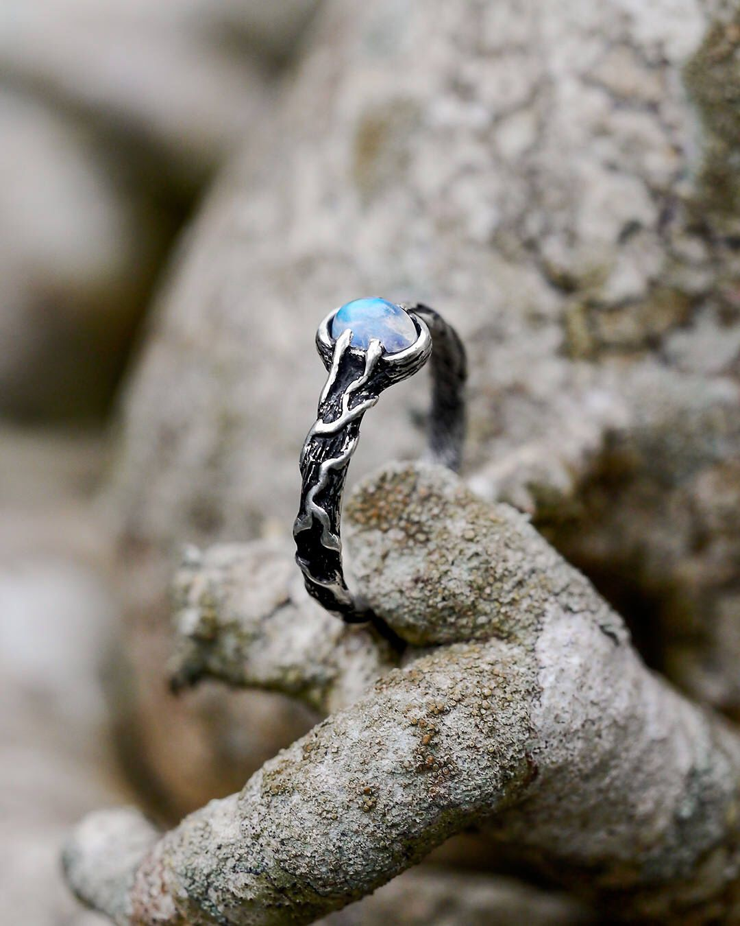 Rainbow Moonstone sterling silver ring, nature inspired