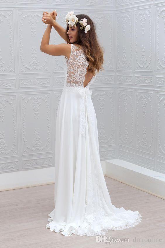 ac0e325e94d modest boho wedding dresses cheap sheer neck lace capped sleeve backless bridal  gowns chiffon bohemian beach wedding dress from china