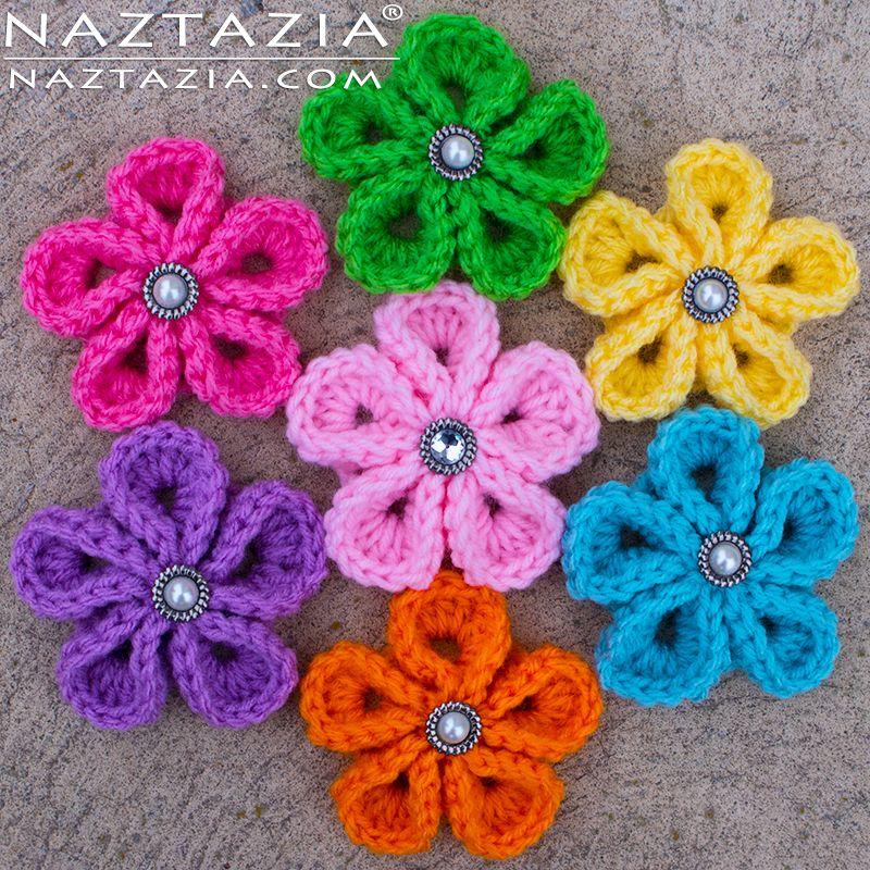 DIY Freies Muster und YouTube Tutorial für Crochet Kanzashi Flower - Japanische Blumen - von Donna Wolfe von Naztazia